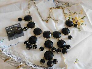 J. Crew Black Gold Statement Necklace and Black Enamel Hoop Earrings Set