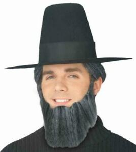 Full Beard Amish Man Fancy Dress Up Halloween Adult Costume Accessory 3 COLORS