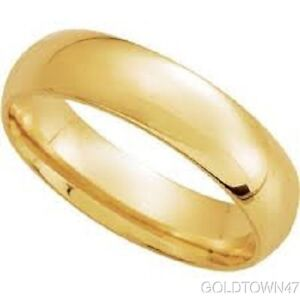 14k Yellow Gold Polished Comfort Fit 4 Mm Wedding Band Ring Size (5-12)