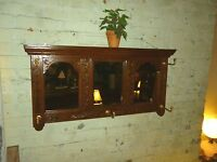 Antique Oak coat hat rack wall mount triple mirror quarter sawn 1900 refinished