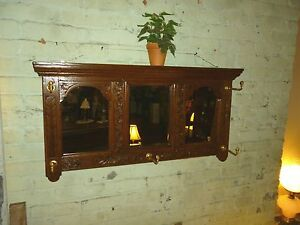 Antique Oak coat hat rack wall mount triple mirror quarter sawn 1900 refinished