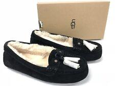 UGG Australia LITNEY Black SUEDE SHEEPSKIN TASSEL MOCCASIN SLIPPERS 1014882