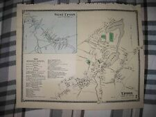 Superb Antique 1870 West & Upton Worcester County Massachusetts Handcolored Map