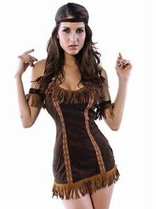 4 Piece Ladies Pocahontas America Indian Native Squaw Costume Dress Size 8