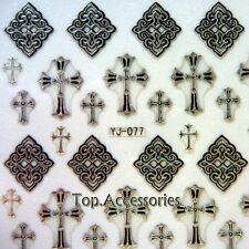 3D Antique Silver Sacred cross Design Nail Art Decals Sticker #07030S-E Free P&P