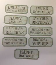 8683f672d 45 Beige Birthday Sentiment Tickets Card Making Scrapbook Craft  Embellishments