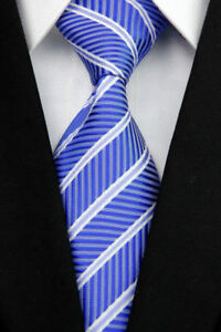 100% Pure Silk Man's Neck Tie Shades of Mid Blue & White Diagonal Stripe Pattern