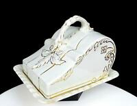 """K & CO KEELING IRONSTONE GOLD FLORAL AND LEAF EMBOSSED 6"""" CHEESE DISH 1886-1936"""