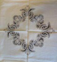 Vintage Battenburg Tape lace Ecru Linen Tea Tablecloth 42 x 42