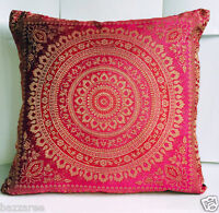 "Indian Mandala Ethnic Banarasi Cushion Cover Covers 16x16"" Faux Silk Pink Sofa"