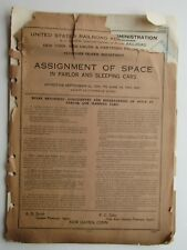 U.S. Railroad Admin N.Y & New Haven & Hartford Assignment Of Space In Sleep Cars