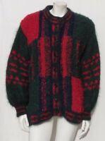 Vtg MARY BARRY Ireland Boucle Knit Mohair Lined Cardigan Sweater Jacket sz L XL