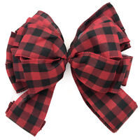 """9"""" Red Buffalo Plaid Bow Christmas Wreath Decoration Tree Ornament Country Wire"""