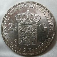 NETHERLANDS 2 1/2 gulden 1931 UNC #B74