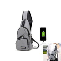 Mens Sling Chest Bag Pack Anti-theft USB Charging Fashion Crossbody Shoulder Bag