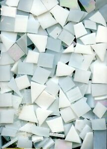 Mosaic Glass: WHITE MIX, 5 ounce Stained Glass Pack (about 100 Hand Cut Pieces)
