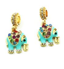 NEW Elephant European Pendant CZ Crystal Charm Beads Fit Necklace Bracelet !