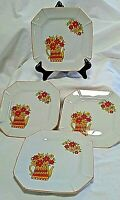 Retro 8 Sided Dessert/Bread/Salad Plates (4) Watering Can, Orange, Yellow, Green