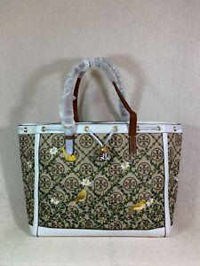 NEW Tory Burch Hazel/Gardenia T Monogram Embroidered Jacquard Tote Bag $598