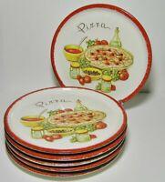 """STOVIT Ceramic PIZZA Dinner PLATES Set 6 11"""" rim * Made in ITALY ~ Vintage 80s"""