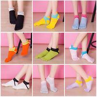 Women Breathable Five Toe Cotton Socks Pure Sports Trainer Running Finger Socks