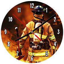 """8"""" WALL CLOCK - FIREFIGHTER 2 Fireman Fire Dept Man Hero Responder Emergency"""