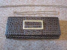 Dark PURPLE/Croc Crystal BOX evening bag CLUTCH handbag Wedding Shoulder Chain