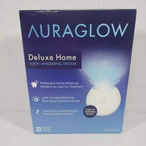 AuraGlow Deluxe Home Teeth Whitening System 20 Treatments Exp: 08/2022