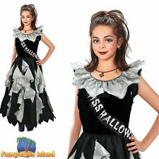 KIDS GOTHIC HALLOWEEN ZOMBIE PROM QUEEN - Age 8-13 - Girls Fancy Dress Costume