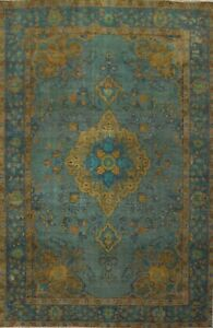 Antique Floral Tebriz Overdyed Hand-knotted Evenly Low Pile Wool Area Rug 6'x10'