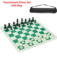 32 pieces Plastic Tournament Chess Set Roll Mat w/ Bag Camping Travel Gifts