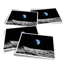 4x Rectangle Stickers - Planet Earth Space NASA Moon Blue  #24374