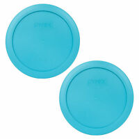 "Pyrex 7201-PC 6"" Surf Blue Plastic Storage Cover Lid 2PK for 4 Cup Glass Bowl"