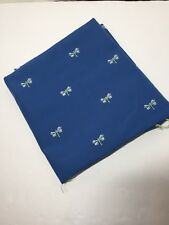 """1 Yard Blue Twill Embroidered Butterflies Fabric 54"""" Polyester"""