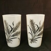 Set of 2 Vintage Milk Glass Tumblers with Black Wheat motif RARE