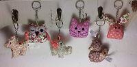 Ditsy Vintage Floral Fabric Keyring Keyrings Cat Rabbit Dog Owl Duck Elephant