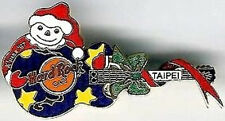 Hard Rock Cafe TAIPEI 1997 CHRISTMAS PIN Blue SANTA GUITAR - HRC Catalog #9640