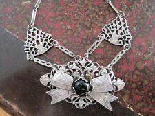 Antique Art Deco Continental 800 Silver Necklace Hand Made Black Onx Stone c1920