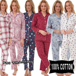 Ladies Pyjama Set Womens button up  Brushed Pure Cotton Print Winter