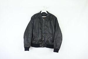 Vtg 90s Mens Size 40 Distressed Full Zip Leather Bomber Jacket Motorcycle Black