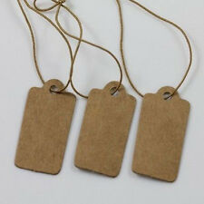 100X Jewelry Price Label Tags Blank Kraft Paper With Elastic String 30*15mm Chic