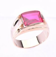 Edwardian Rectangle Red Rubellite Ring in 14 Karat Yellow gold