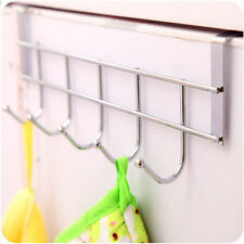 97G Silver Hat Clothes Coat Towel Bag Hanger Over Closet Door 5 Hook Rack Holder