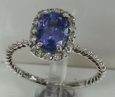 14k white gold Gemstone Tanzanite 8x6mm oval 1.30ct and diamonds fine ring