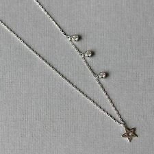 Sterling Silver 925 Assymmetrical Multi CZ & Single Star Choker Necklace 33cm