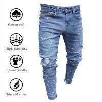 Men Ripped Skinny Biker Jeans Destroyed Frayed Slim Fit Denim Pants Trousers.
