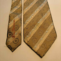 "Ben Sherman Men's Tie Gray & Silver Striped Design 100% Silk W 3.5"" L 62"" XL"