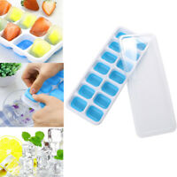 4PCS Covered Ice Cube Tray Set With 56 Ice Cubes Molds Flexible Rubber Plastic