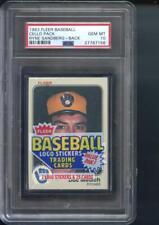1983 Fleer Baseball Card Cello Pack Ryne Sandberg Rookie GEM PSA 10 Graded Wax