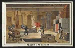 Ancien Chromo Publicitaire CHOCOLAT LOUIT à BORDEAUX - Fonderie de Canons - TBE